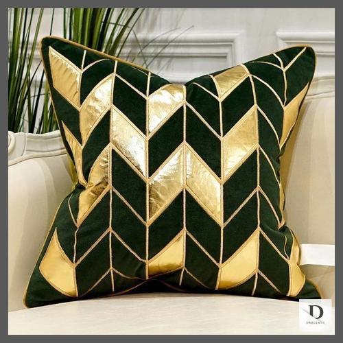 luxury dark green and gold velvet european cushion cover