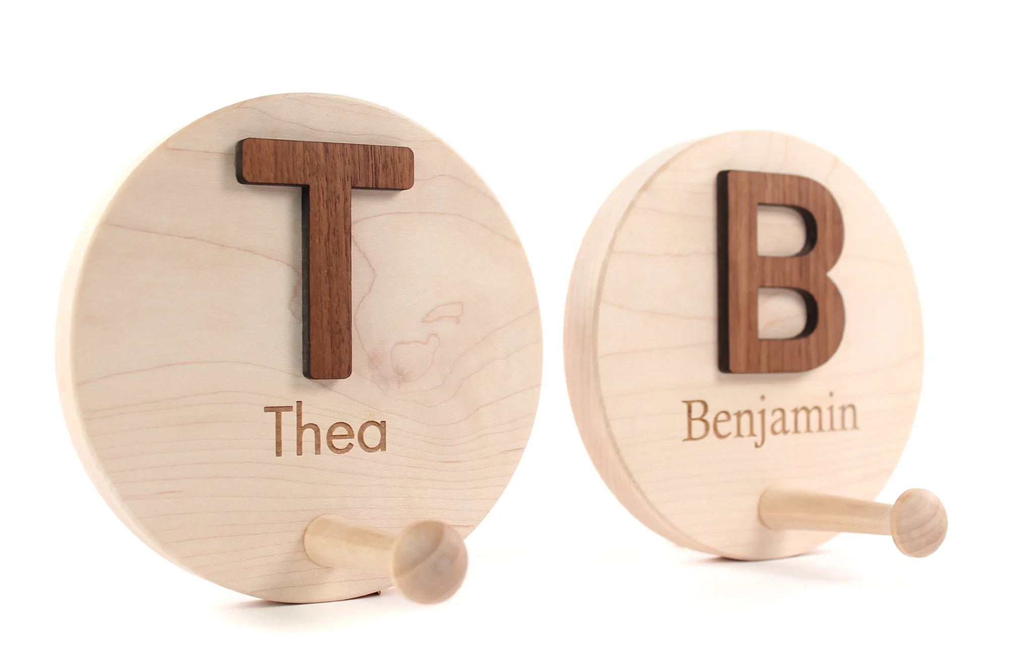 Personalized Wooden Coat Hooks Smiling Tree Toys
