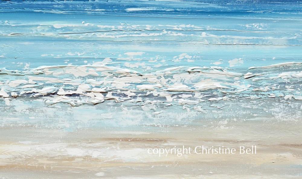 Giclee Print Abstract Beach Painting Coastal Blue Ocean