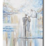 Art Abstract Painting Canvas Print Couple Umbrella Romantic Walk Rain Contemporary Art By Christine