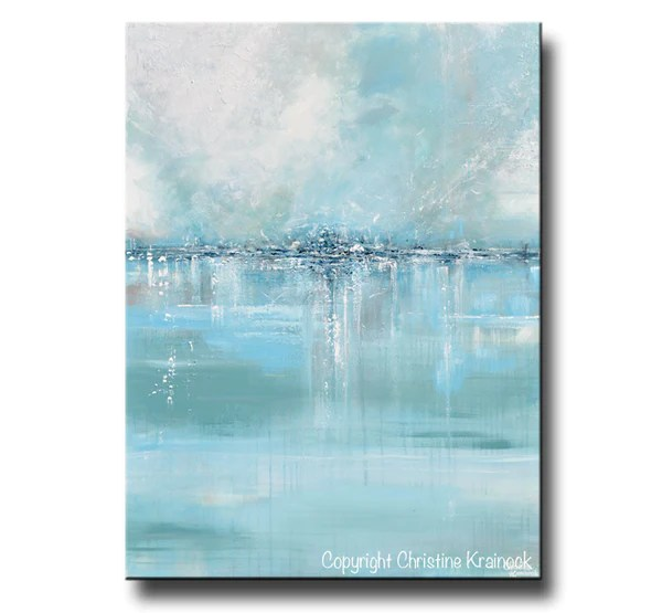 ORIGINAL Art Abstract Painting Coastal Wall Decor Sea Blue