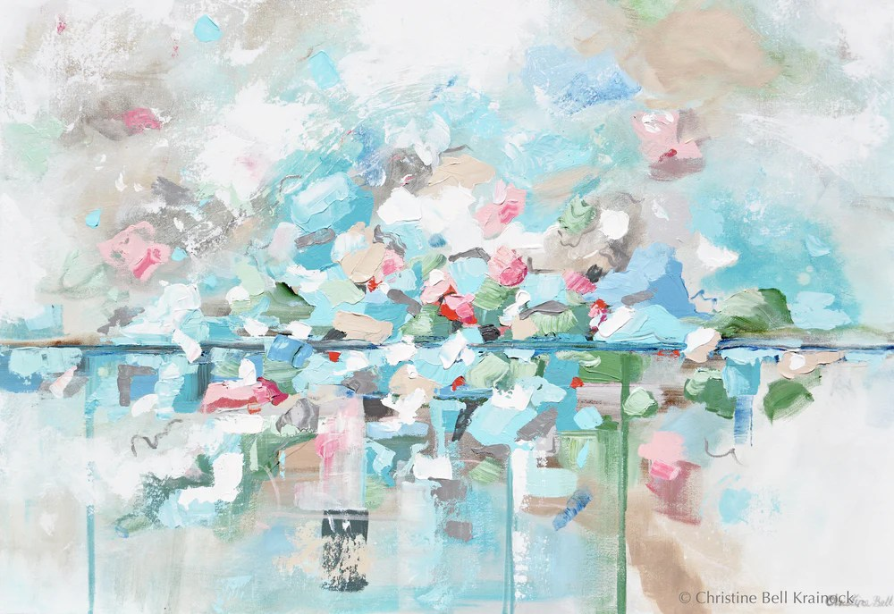 Giclee Print Art Blue Abstract Painting Canvas Art Beach