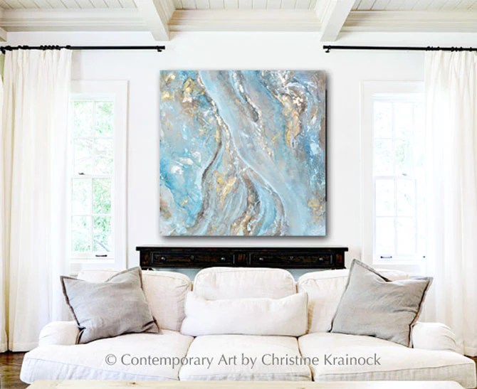 CANVAS PRINT Art Blue Grey Abstract Painting Gold Leaf