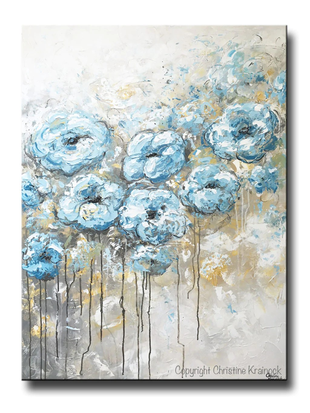 ORIGINAL Art Abstract Flowers Painting Floral Blue White Grey Wall     ORIGINAL Art Abstract Blue White Floral Painting Flowers LARGE Coastal Grey  Gold