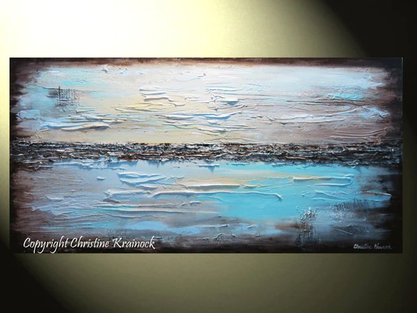 GICLEE PRINT Art Abstract Painting Blue Modern Canvas