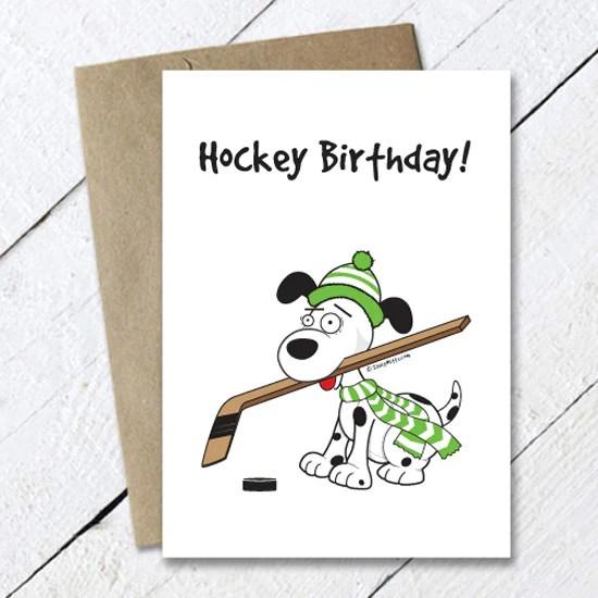 Hockey Birthday Dog Card Saucy Mitts Hockey