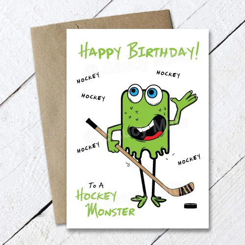 Kids Hockey Monster Birthday Card Saucy Mitts Hockey
