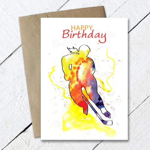 Womens Hockey Birthday Card Watercolor Saucy Mitts Hockey