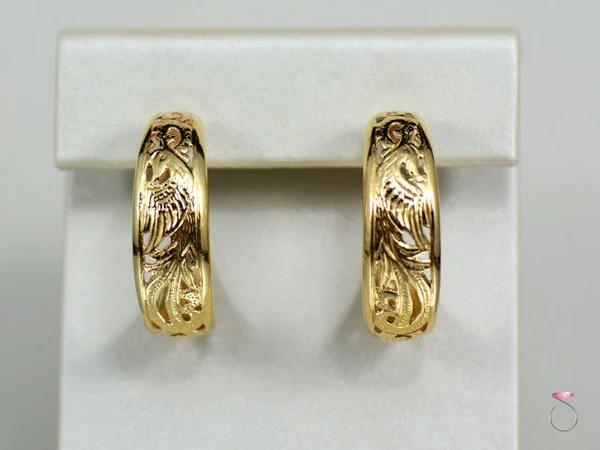 Mings Hawaii Phoenix Hoop Earrings In 14K Yellow Gold SBEJ