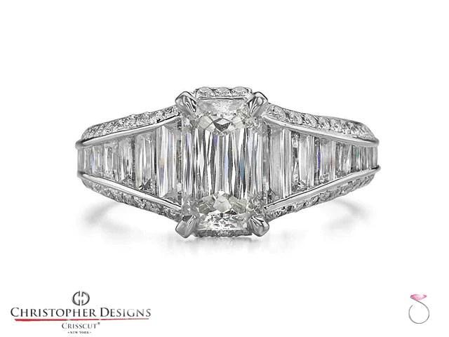 Christopher Designs Crisscut Emerald Diamond Ring SBEJ