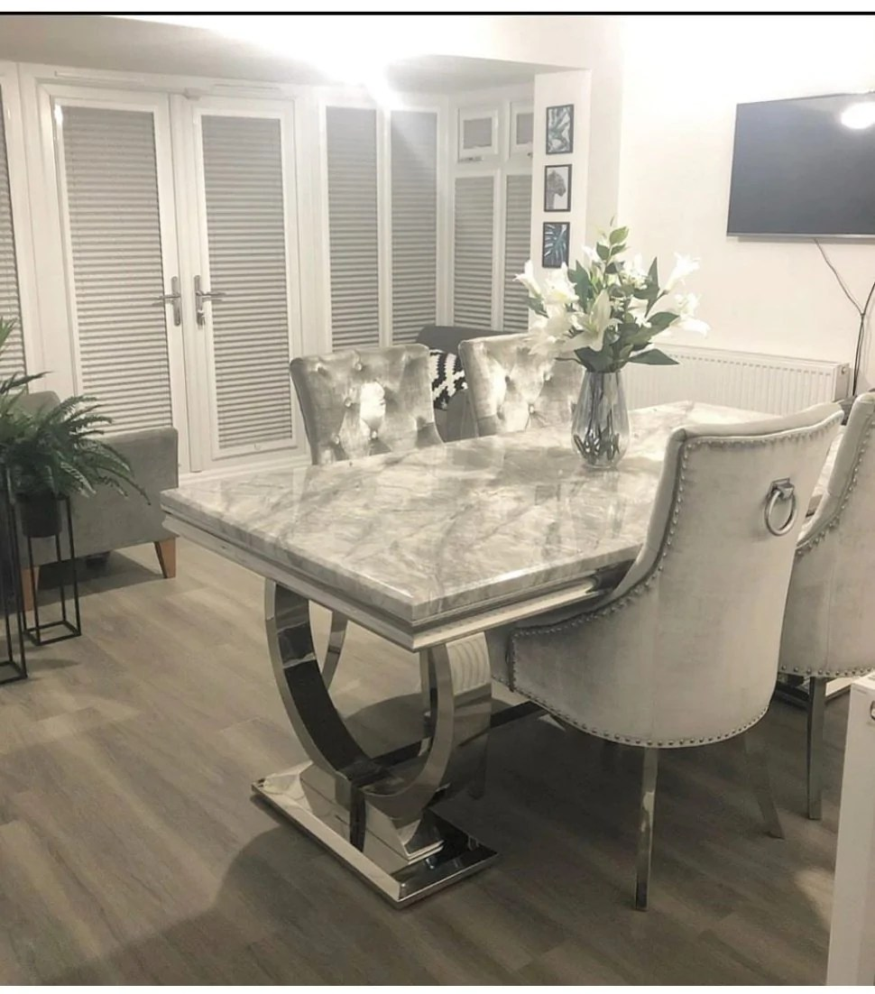 arianna marble dining table set cambridge chairs