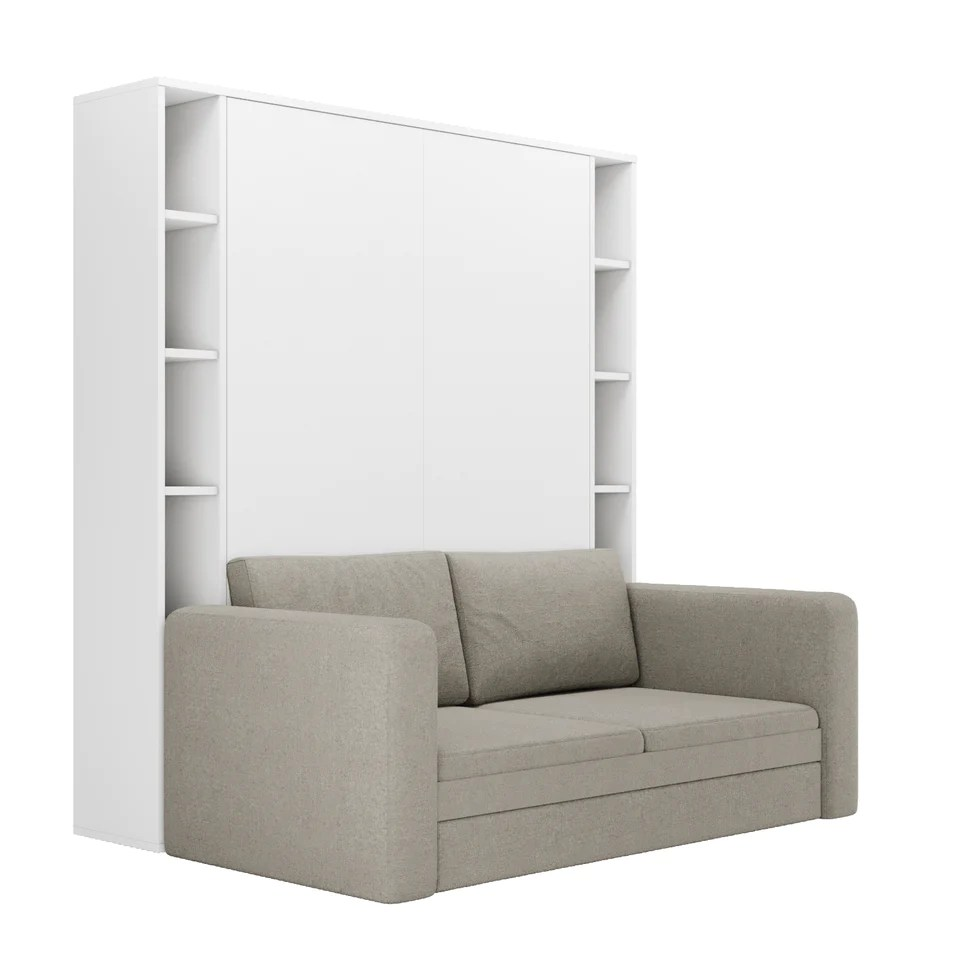 rinolio white murphy bed with gray sofa