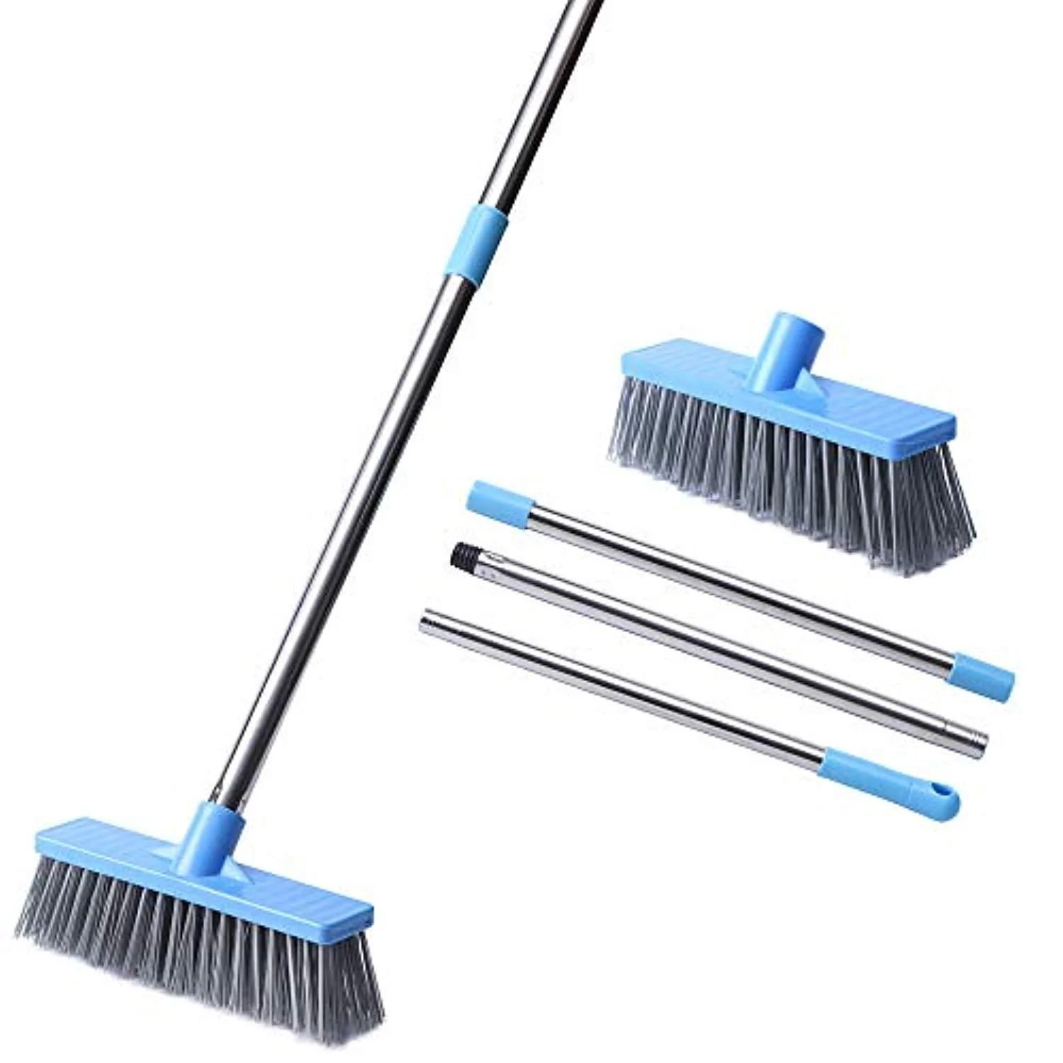 huyijjh floor scrub brush with long handle 52 8 stiff bristle tub and tile grout brush scrubber with adjustable stainless steel handle for cleaning