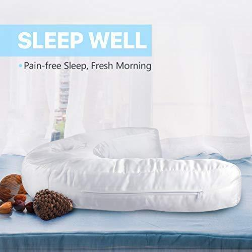 side sleeper pillow seen on tv u shape contour pillows for sleeping with ear pocket relieve neck shoulder back pain cool silk pillowcase and firm