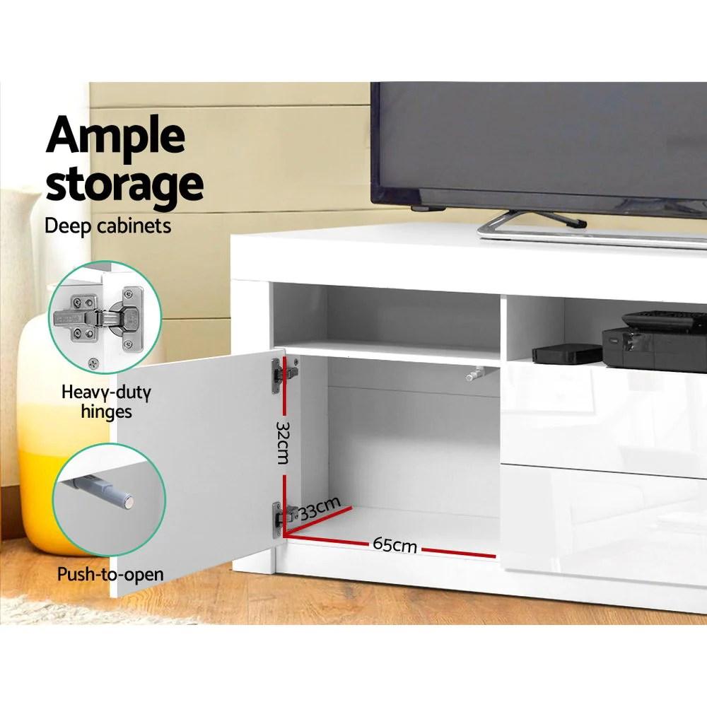 vigor in built led lighting tv stand entertainment cabinet w drawer