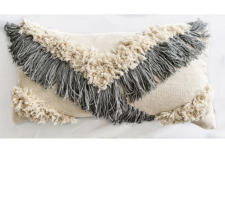 santa maria fringed lumbar pillow blue gray