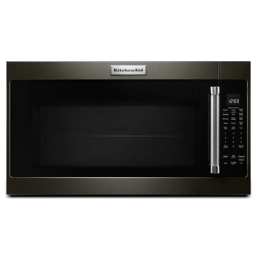 kitchenaid 2 cu ft over the range microwave in black stainless yk