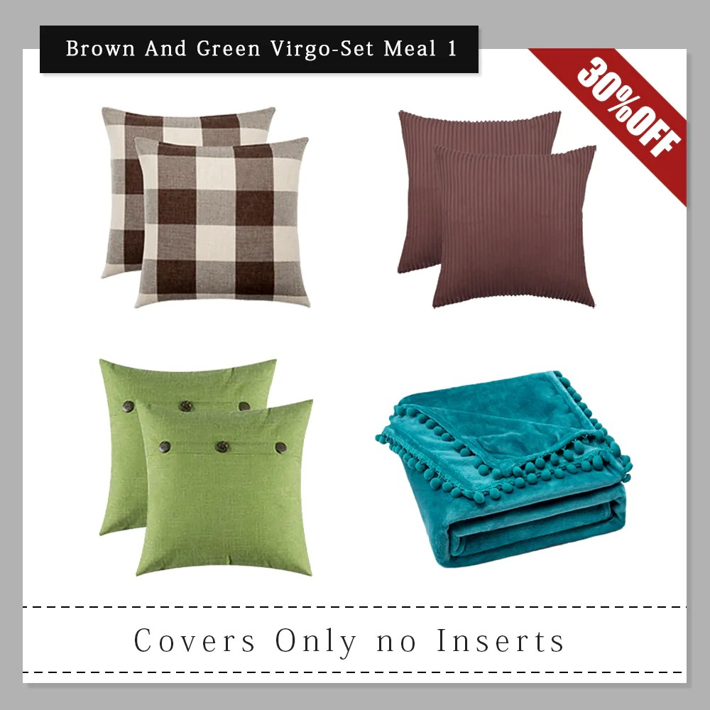 virgo set meal miulee brown and green throw pillow covers