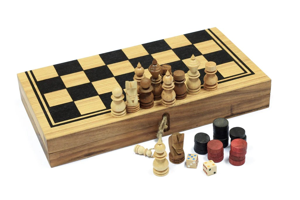 Wooden Quality Backgammon, Checkers and Chess Set of 3