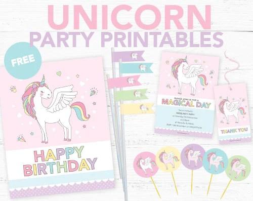 unicorn party invitations diy printables