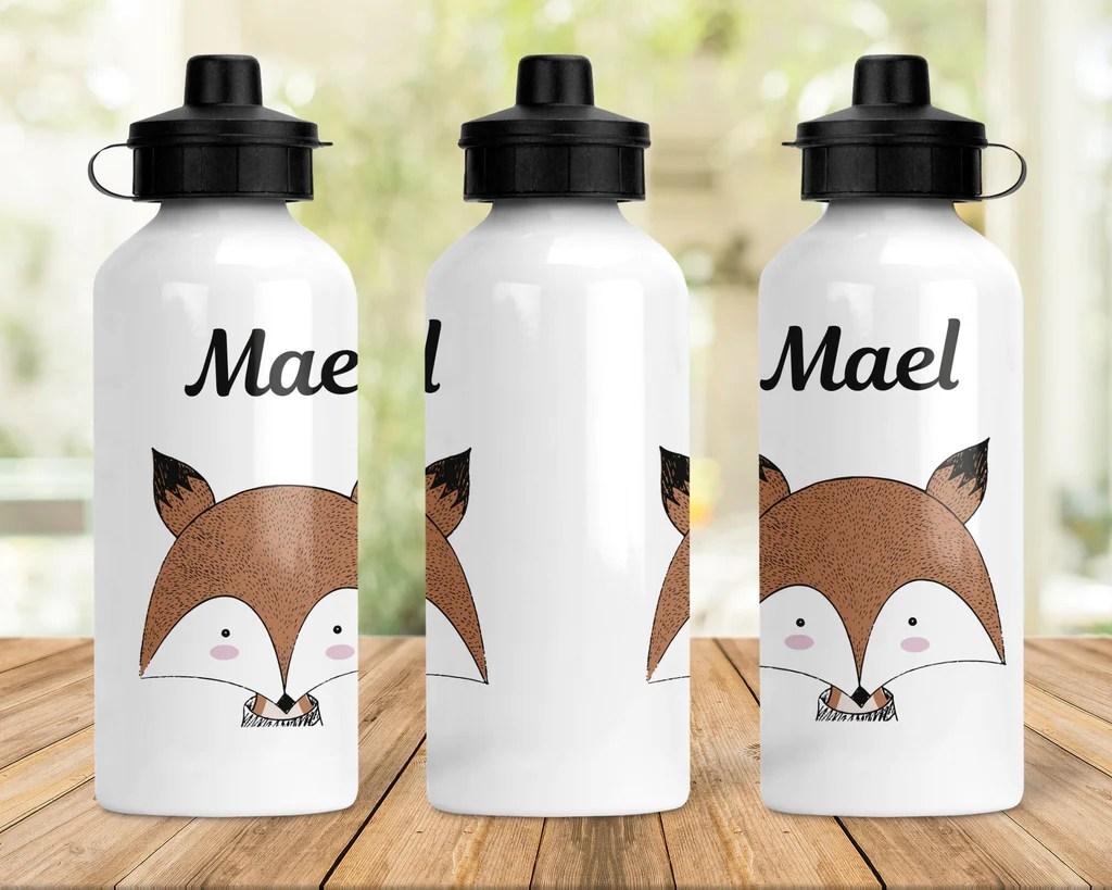 c38 gourde renard personnalisee cadeau enfant cadeau anniversaire gourde reutilisable cadeau femme imprime renard prenom fille garcon