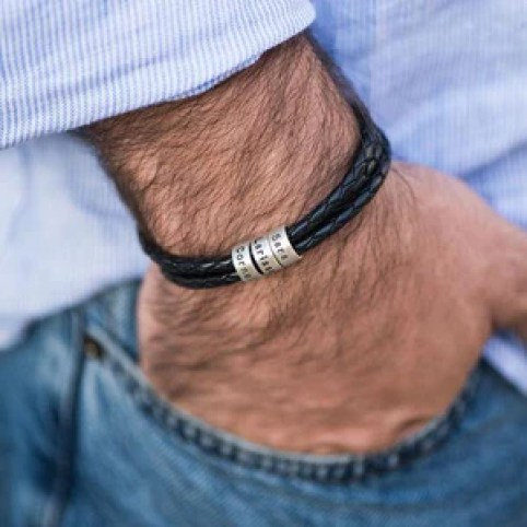 Men Braided Leather Bracelet for Fathers' Day