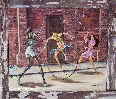Double Dutch 16x19 Print Ernie Barnes Its A Black