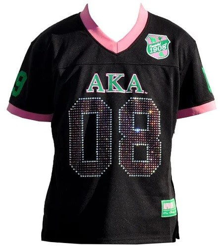 Alpha Kappa Alpha Jersey Football Black With Sequins