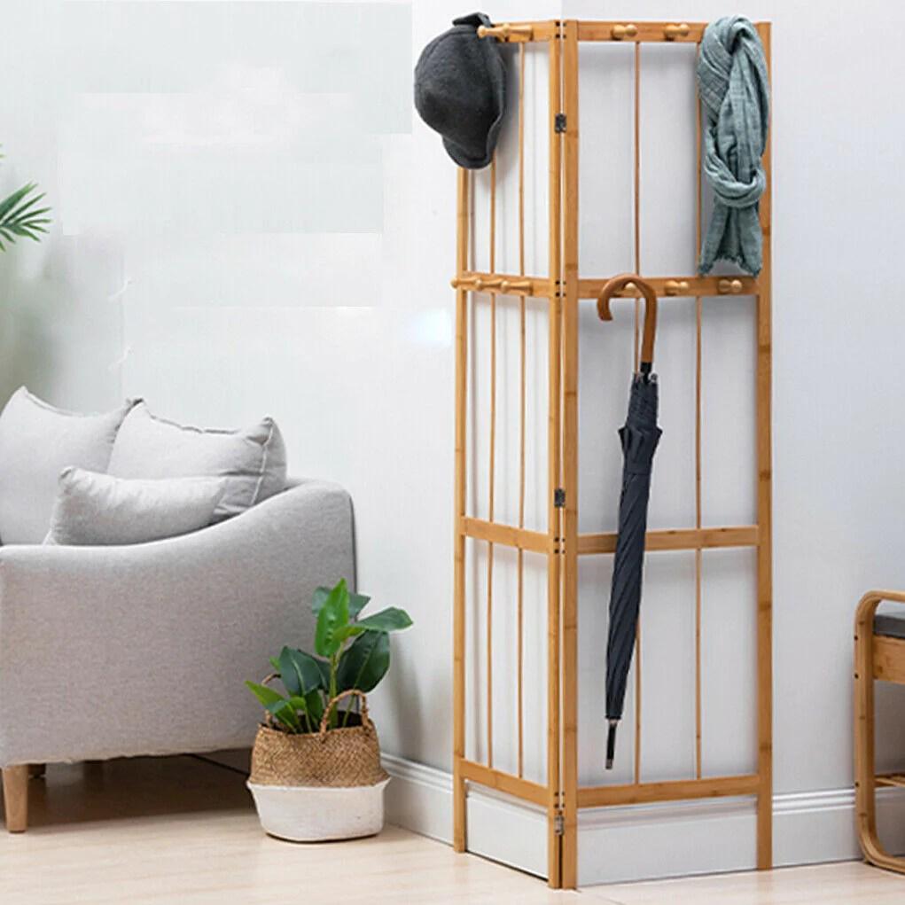 folding corner hall tree coat rack entryway storage hook stand hanging quildinc