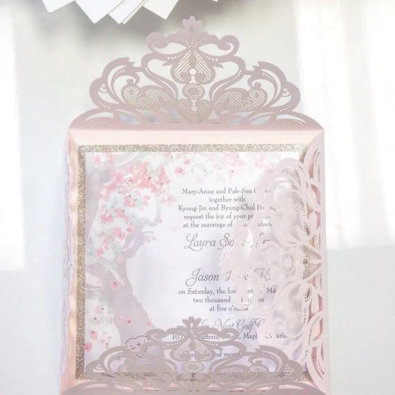 Blush Pink Laser Cut Wedding Invitation With Glittery