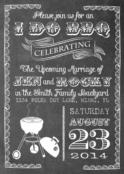 Chalkboard BBQ Party Printed Invitation 0224 The Polka Dot Paper Shop