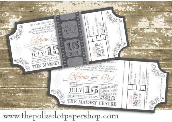 Movie Ticket Wedding Invitation With Film Strip Belly Band