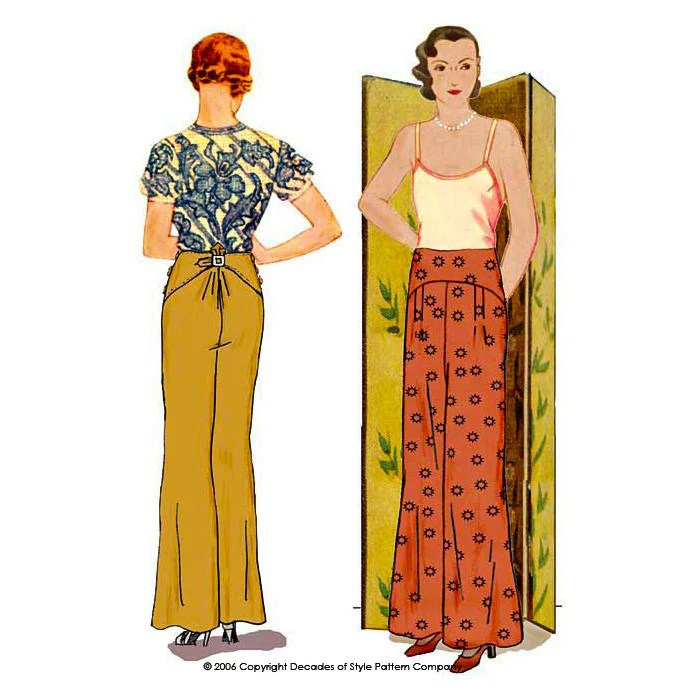 illustration for 1930s sewing pattern for trousers from Decades of Style with wide, gently shaped pant leg