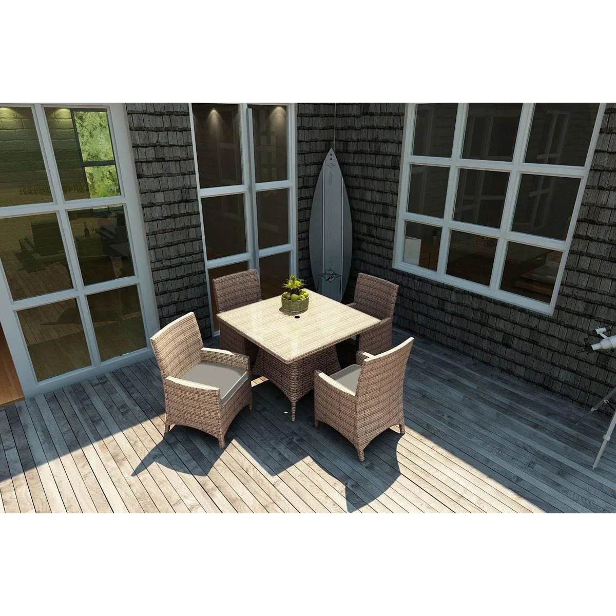 forever patio 5 piece barbados wicker 48 dining set fp bar 5din sq forever wicker