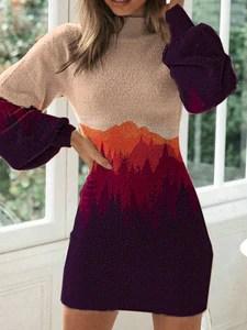 Women's High Neck Mountain Print Dress