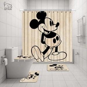nyaa 4 pcs minnie mickey shower curtain pedestal rug lid toilet cove