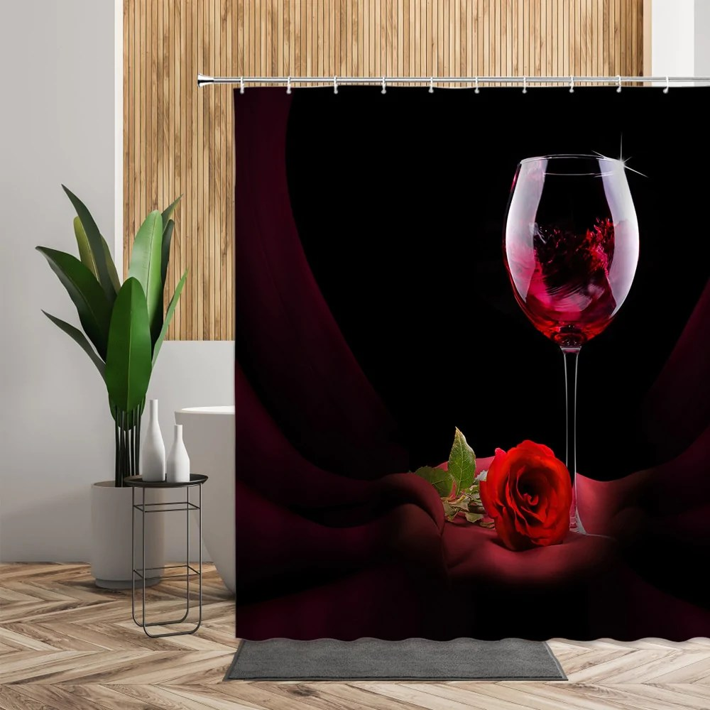 rose red wine glass shower curtain shower me curtain