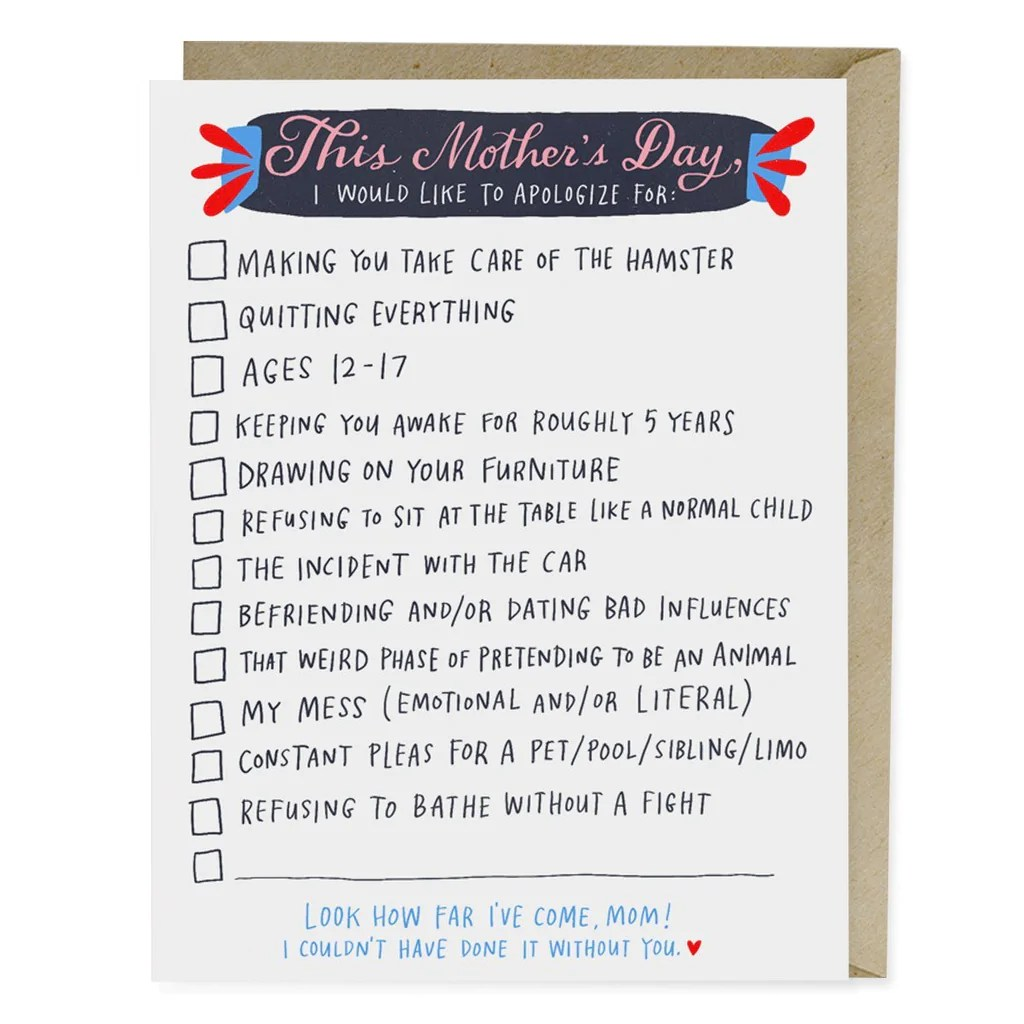 Checklist Mother's Day Card | Mother's Day Cards | Emily ...