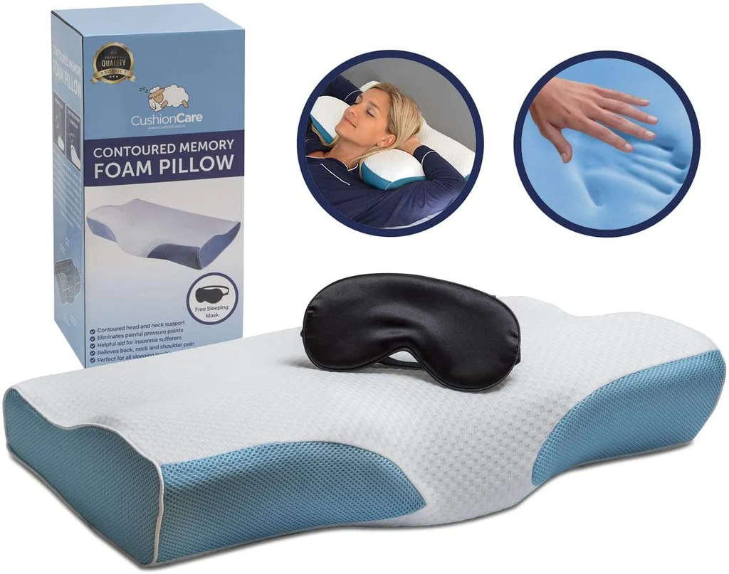 contoured orthopedic memory foam pillow for neck and shoulder pain