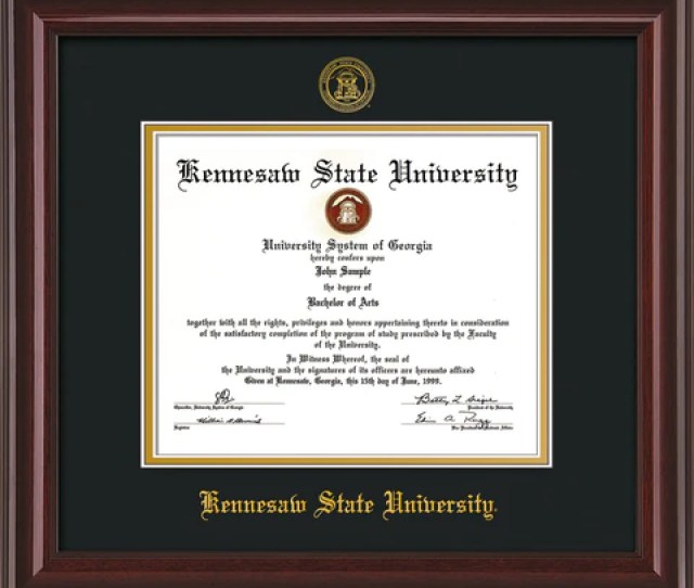 Image Of Kennesaw State University Diploma Frame Mahogany Lacquer W Embossed Ksu Seal