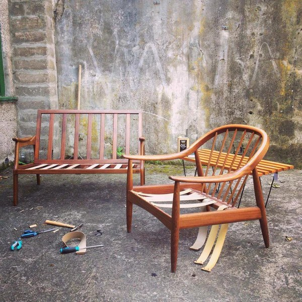 Pirelli webbing mid century furniture project