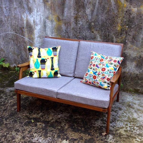 grey linen mid century vintage sofa