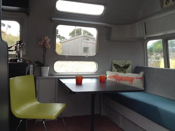 Office inside a vintage airstream caravan