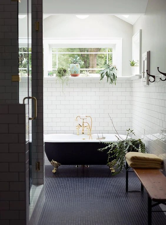 bathroom with plants