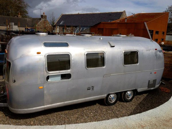The airstream caravan parked outside
