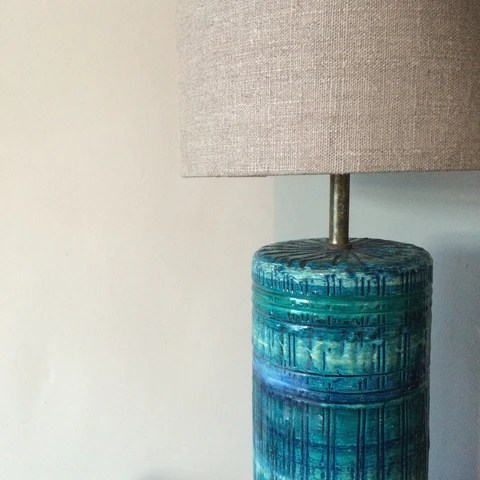 Bitossi style lampbase with oatmeal linen shade