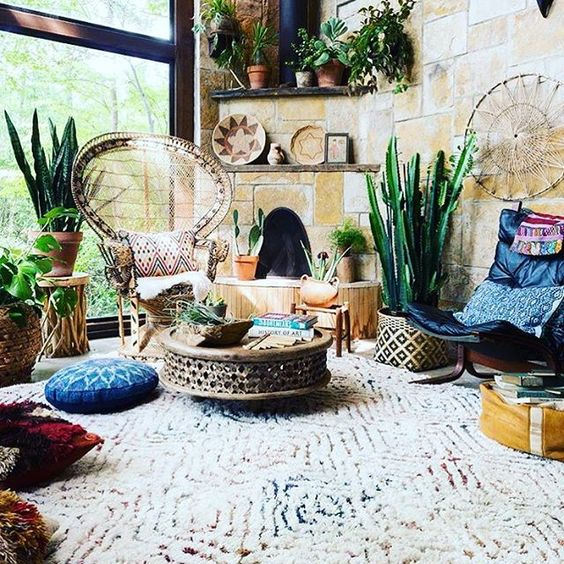 peacock chair in bohemian interior