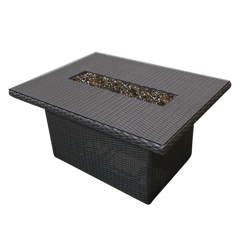 forever patio woven fire table 48 x 28 rectangle outdoor patio furni