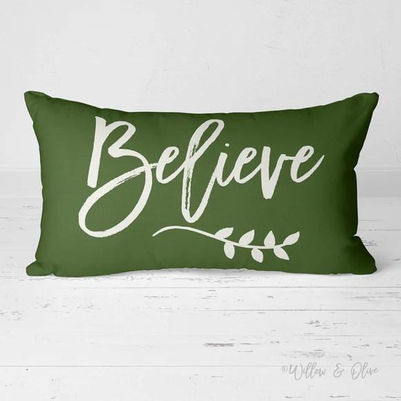 decorative lumbar throw pillow believe pine green