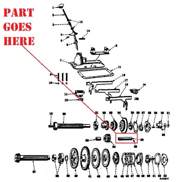 Transmission Reverse Idler Shaft for Farmall 140, 130